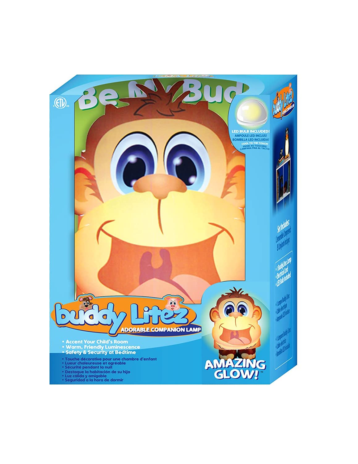 Amazon.com: BuddyLitez Childrens MONKEY LED Nightlight Lamp for Kids Bedroom Nightstand, Reading, Gift and Toy: Home & Kitchen