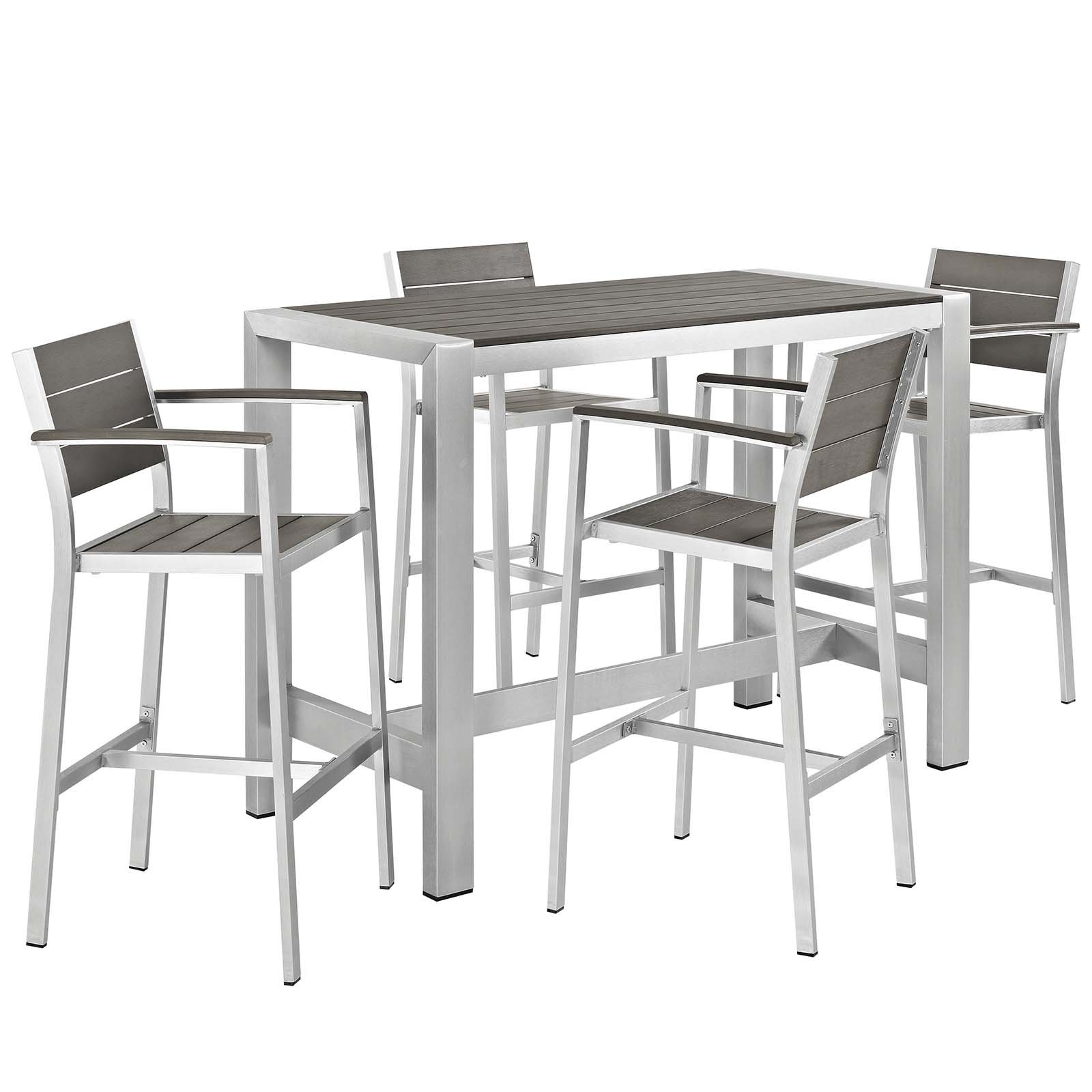 Modway Shore 5-Piece Aluminum Outdoor Patio Pub Bistro Set with Bar Stools in Silver Gray