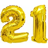 """Giant 21st Gold Number Balloon - 40"""" Premium Quality Latex Birthday Balloon Set - Perfect For Parties & Celebrations"""