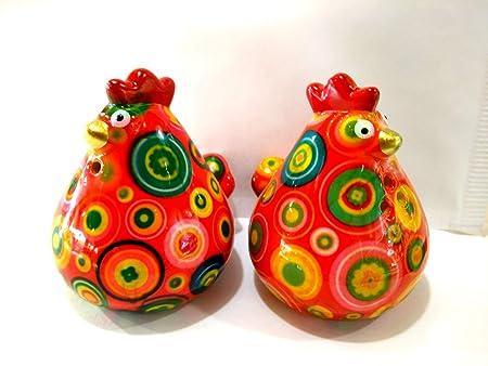 Set di due bianco in ceramica sale e pepe galline