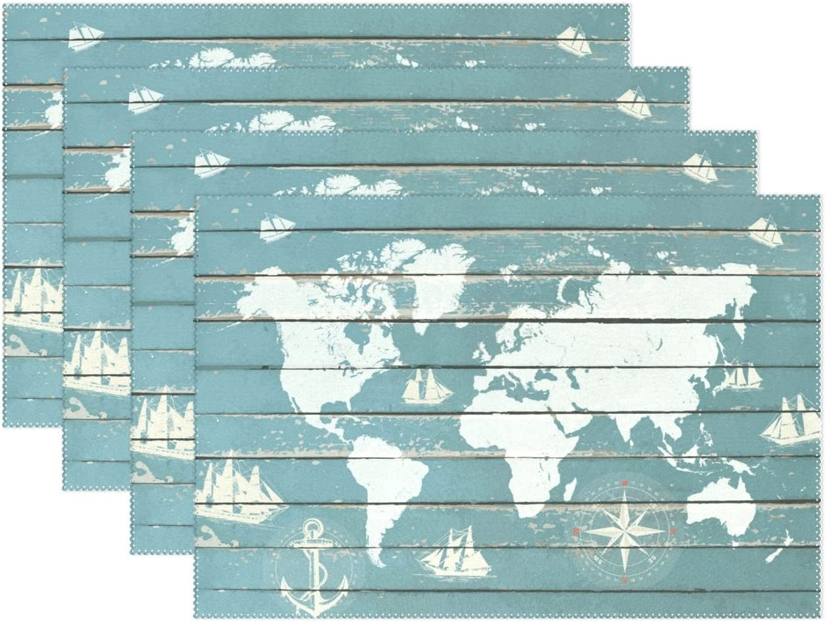 Amazon Com My Daily World Map Anchor Compass Ship Wood Printed Placemats For Dining Table Set Of 6 Heat Resistant Washable Polyester Kitchen Table Mats Home Kitchen