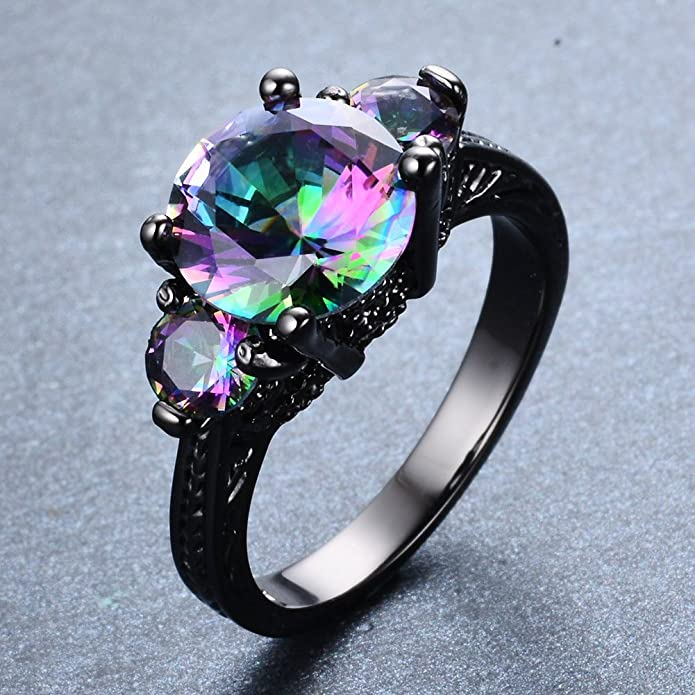 engagement amorui black gold red angel birth white trendy stone purple heart wings product women ring rings crystal love anillos woman wedding