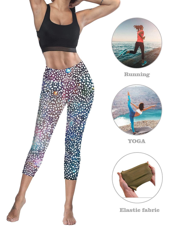 Compression Yoga Pants Stretch Workout Leggings High Waist Tummy Control Starry Sky Cosmic Galaxy