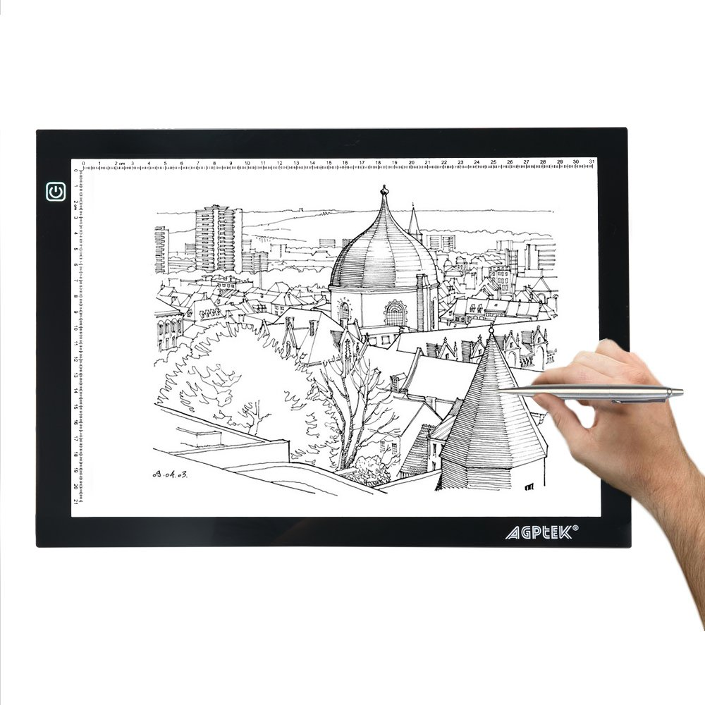 AGPTEK Size Tracing Light Pad LED Box Extra Large Active Area 12.6 x 9 inch Ultra-Thin Stepless Brightness Control for Artists, Drawing, Sketching, a, A4, 6000k White by AGPTEK