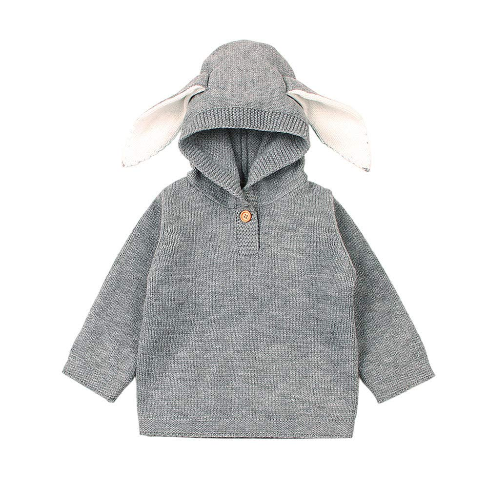 DDLBiz Newborn Infant Baby Boys Girls Cartoon Ear Knitted Hooded Tops Sweater Outfits (Gray, 12M)