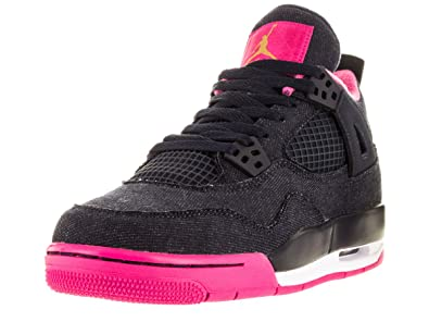 b5706130b848b Nike Boys Air Jordan 4 Retro GG Denim Dark Obsidian Blue/Metallic  Gold-Vivid Pink Fabric