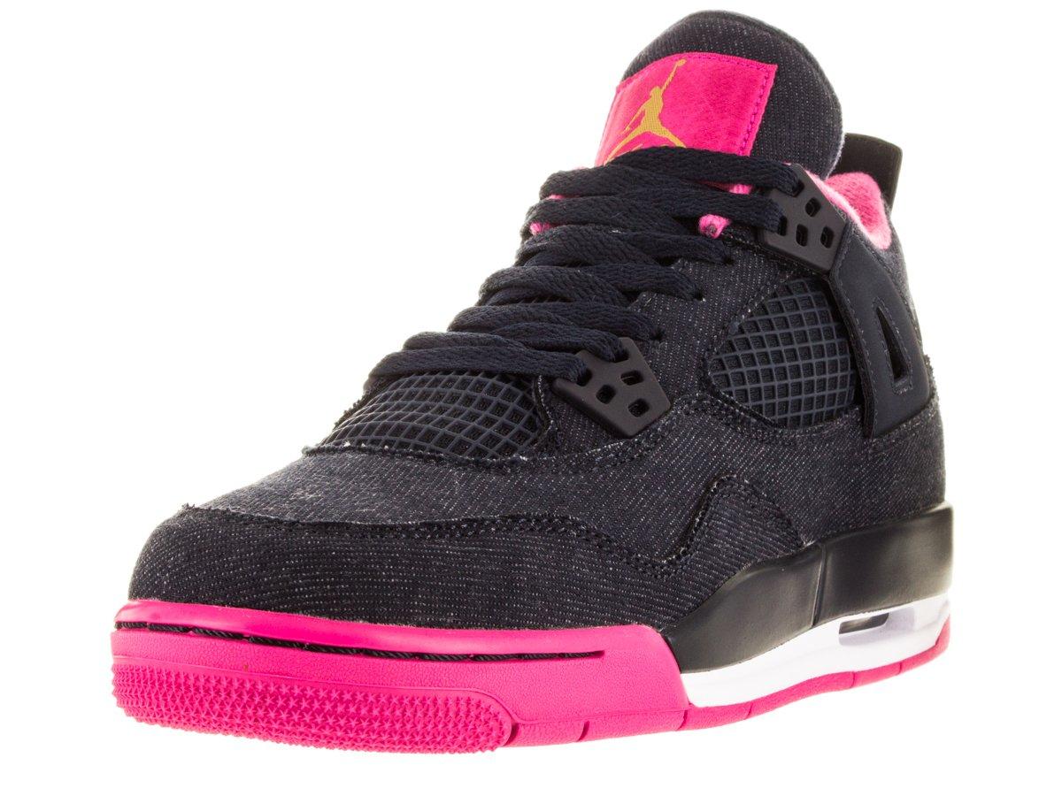 NIKE Girls Air Jordan 4 Retro GG Basketball Shoes Dark Obsidian 487724-408 (6.5Y) by NIKE