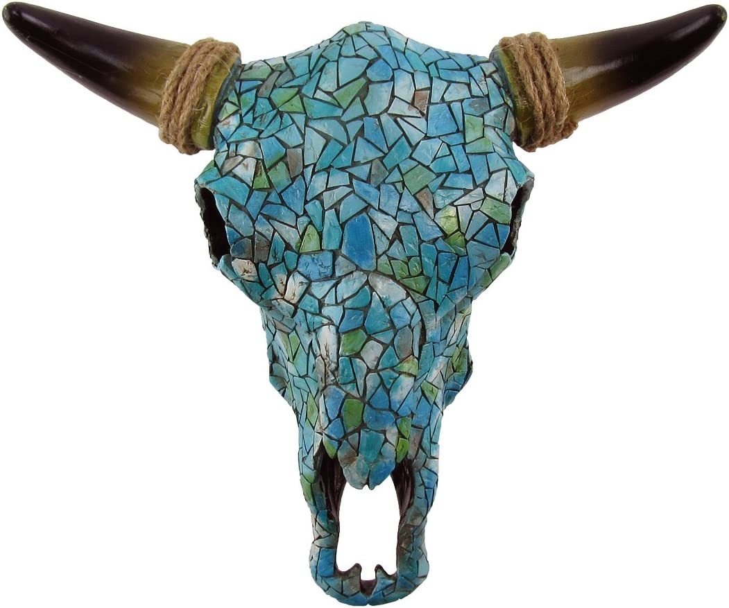 Treasure Gurus Southwestern Turquoise Mosaic Steer/Bull/Cow Skull and Horns