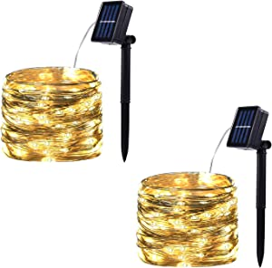 2 Pack 100 LED Solar Powered String Lights, Outdoor Waterproof Copper Wire 8 Modes Fairy Lights for Garden, Patio, Party, Christmas, Home (Warm White)