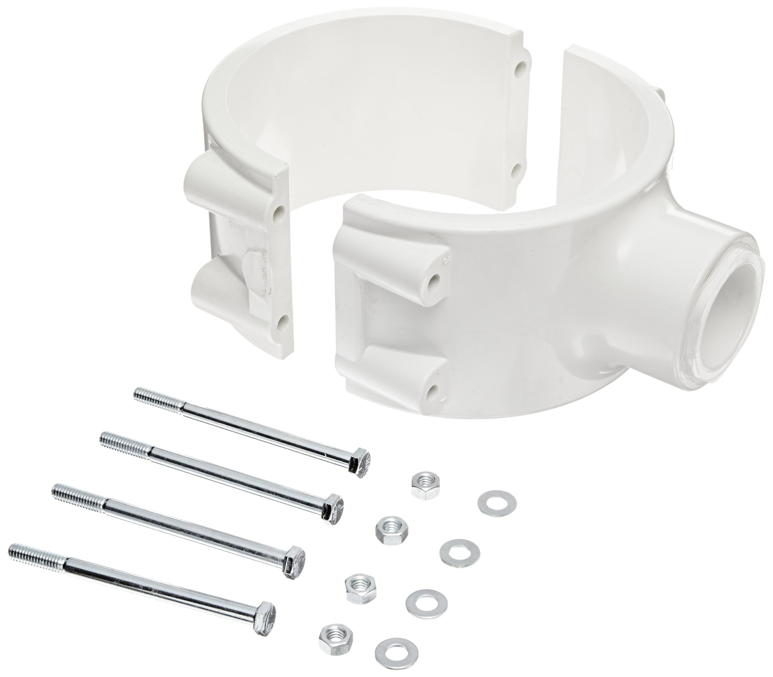 Spears 466E Series PVC Clamp-On Saddle with EPDM O-Ring, Zink Bolt, Schedule 40, White, 8'' IPS OD x 1'' Socket