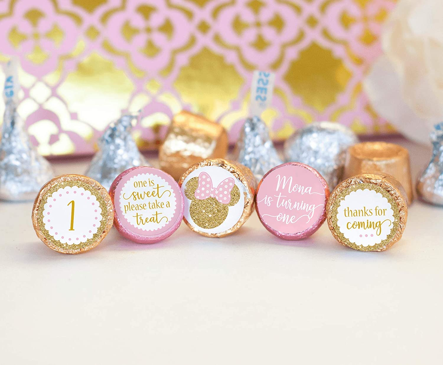 120 Faux gold and pink personalized Minnie Mouse Disney 1st birthday Hershey Kiss Labels