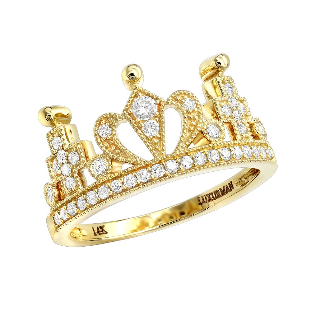 14K Gold Womens Rings Queen Crown Ring With Diamonds 0.3ctw (Yellow Gold, Size 6.5)