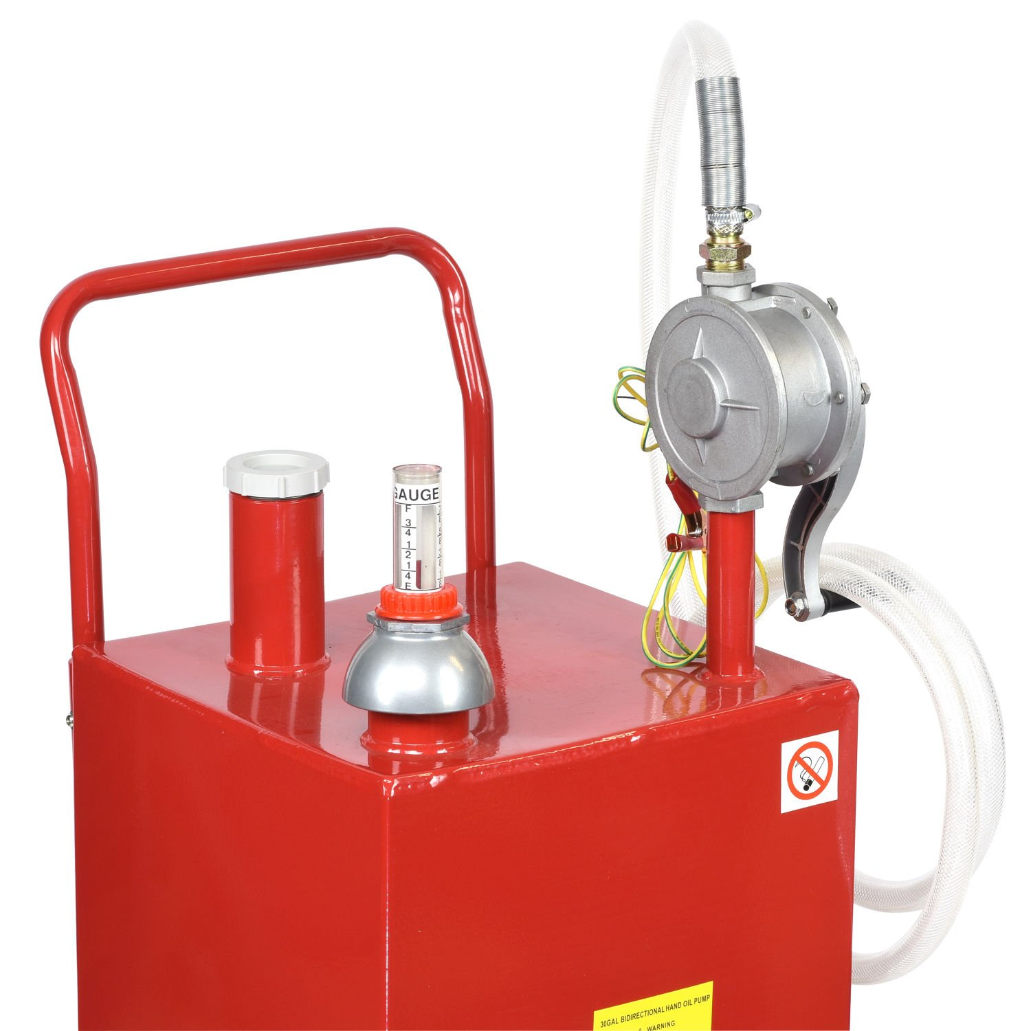 30 Gallon Gas Fuel Diesel Caddy Transfer Tank Container w/ Rotary Pump Tool by Wang Tong Shop (Image #3)