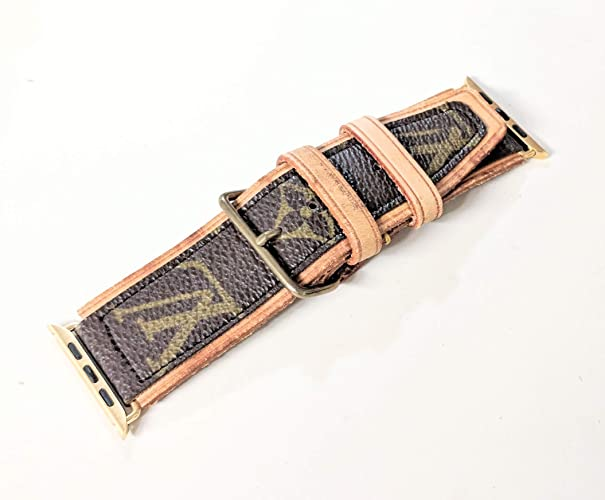 a2860ae4e64a ... watch made from authentic LV old bag canvas/used LV vachetta poignet  size 38mm or 40mm gold -please read item description before you make your  purchase