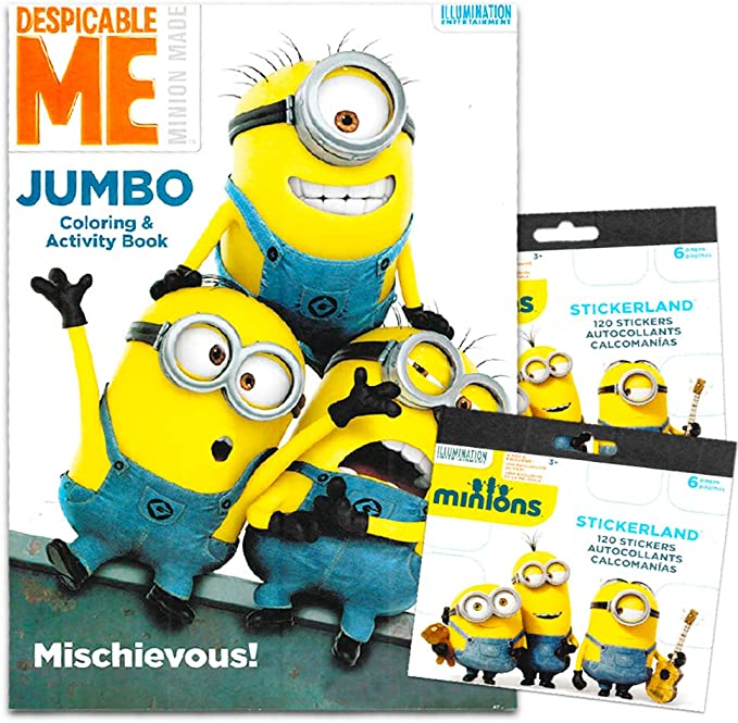 Amazon.com: Despicable Me Minions Coloring Book With Stickers ~ Over 200  Minions Stickers!: Toys & Games