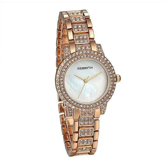 Jewelrywe Mujeres braccili de aleación reloj de pulsera de mujer de cuarzo japonés con Stress Bling color dorado/plata/Rosaoro Alla Moda Regalo Rosaoro: ...