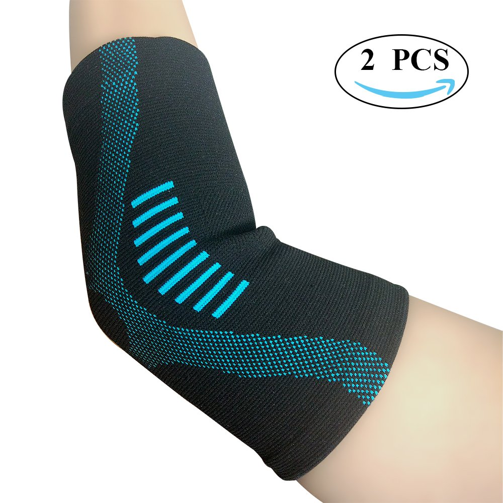 JforU Fitness Elbow Brace Compression Sleeve - 1 Pair for Tendonitis, Arthritis, Tennis Elbow, Golf Elbow Treatment – Reduce Joint Pain Blue, Small