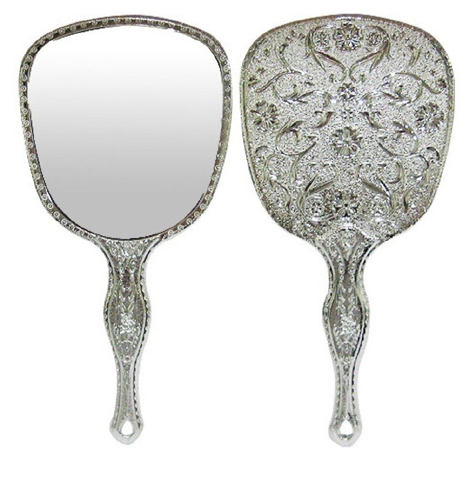 10PCS LOT Ohraina Ladies Floral Repousse Vintage Mirror Oval Hand Held Makeup Beauty Dresser (Silver)