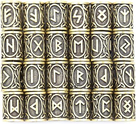24pcs Norse Viking Runes Beads for Ourdoor Bracelets Necklace Hair Beard Decor