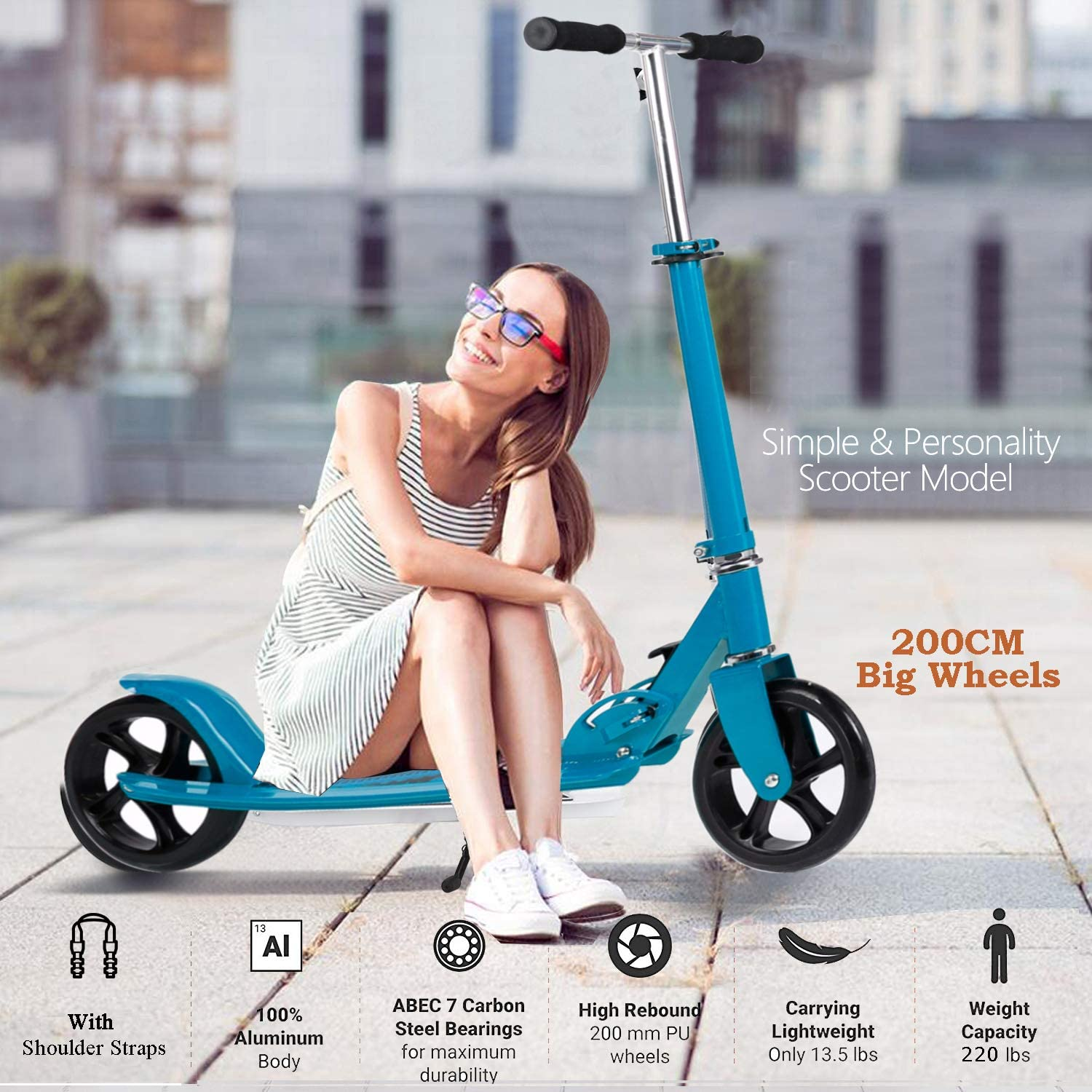 OppsDecor Adult Scooter with 3 Seconds Easy-Folding System 200mm Big Wheels Teens Commuter Scooter 220lbs Adjustable City Scooter Age 8 Up