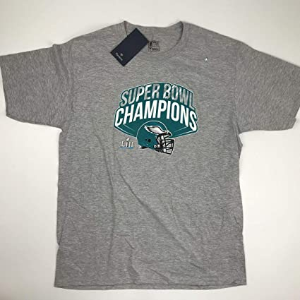 fe1a471a Amazon.com: New Officially Licensed Philadelphia Eagles Grey Super Bowl LII  Champs T-Shirt Size Mens L Large: Sports Collectibles