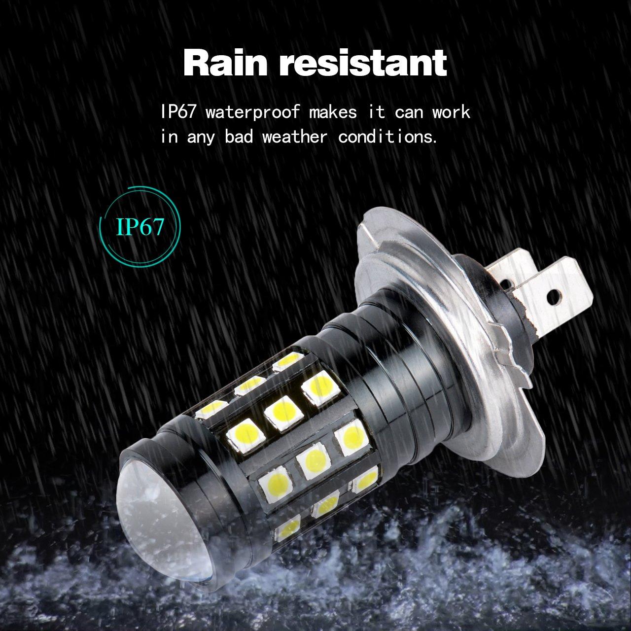 NATGIC Super Bright 2PCS 2700 Lumens 3030 27SMD H7 Lens LED Bulbs for DRL Bulbs Fog Lights Day Running Light Lamp 12V-24V 6000K White