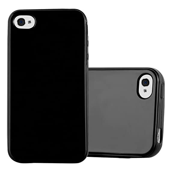ac78e8954f346f Cadorabo Case Works with Apple iPhone 4   iPhone 4S in Jelly Black –  Shockproof and