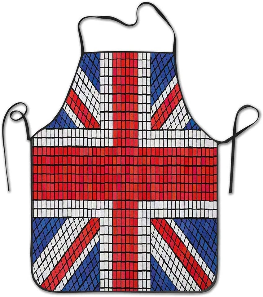 Not Applicable Mosaic Tiles Inspired Design British Flag National Identity Culture Apron for Kitchen BBQ Barbecue Cooking Chef Gift for Women//Men