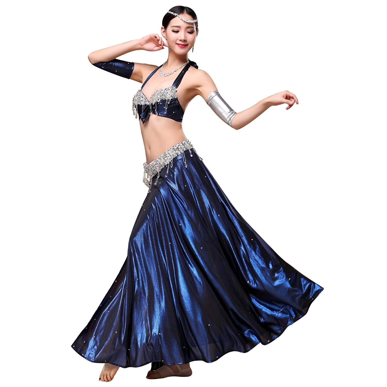 【全商品オープニング価格 特別価格】 大人の女性のベリーダンスのパフォーマンスの練習の衣装セット、ビーズの刺繍のブラ+側面の分裂の氷の絹のダンスのスカートセット2PCS B07Q4P5NWK M M|ブルー ブルー ブルー M, 人形とベビー用品の桜うさぎ:72eb4ecd --- a0267596.xsph.ru
