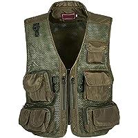 XINHEO Men Multi Pockets Camouflage Lightweight Khaki Fishing Travel Vest
