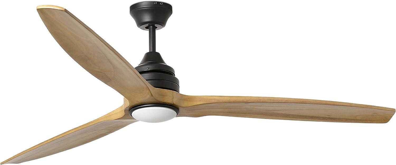 Faro Barcelona 33719- ALO Ventilador de techo con aspas de madera con luz, color marron