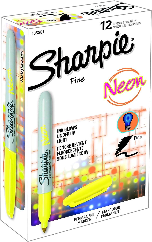 Sharpie 1888991 - Rotuladores permanentes, punta fina, cajo de 12, color amarillo neón: Amazon.es: Oficina y papelería