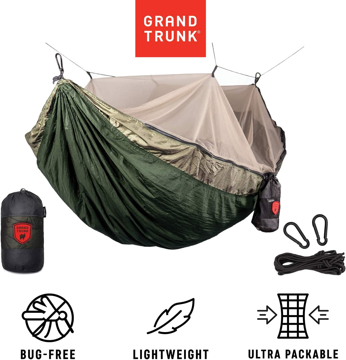 Grand Trunk Skeeter Beeter Pro Mosquito Hammock Portable Bug Prevention Hammock with Carabiners and Hanging Kit – Perfect for Outdoor Adventures, Backpacking, and Camping Trips
