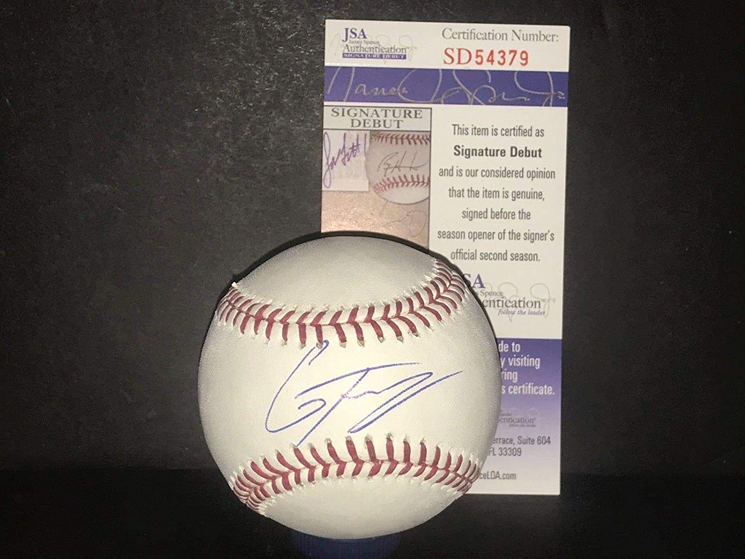 Gleyber Torres New York Yankees Autographed Signed MLB Baseball JSA SIGNATURE DEBUT COA SidsGraphs
