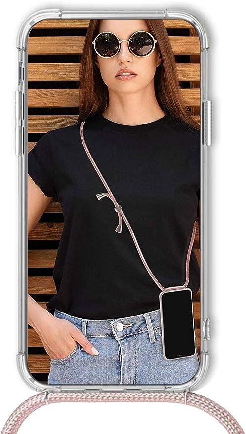 BestST Funda con Cuerda Compatible con Xiaomi Redmi 7A con Correa Colgante Carcasa Cuerda y Esquinas Reforzadas en Silicona TPU con Cordon para Llevar en el Cuello,Oro Rosa