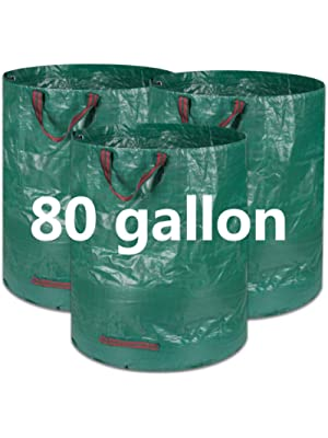 COCOCKA 3-Pack 80 Gallons Reusable Garden Waste Bags- Heavy Duty Gardening Bags, Lawn Pool Garden Leaf Yard Waste Bags