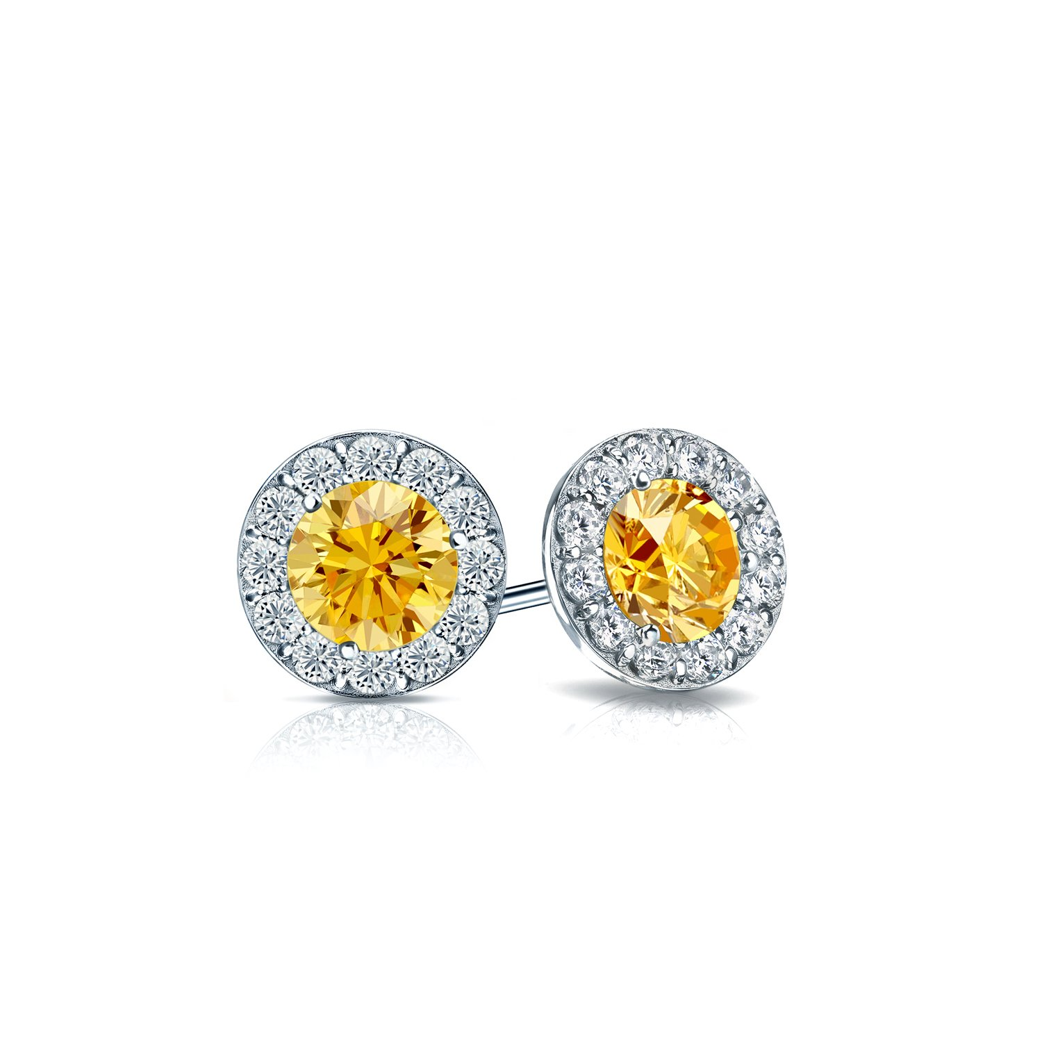 Amazon Platinum Round Yellow Diamond Halo Stud Earrings 1 2 ct