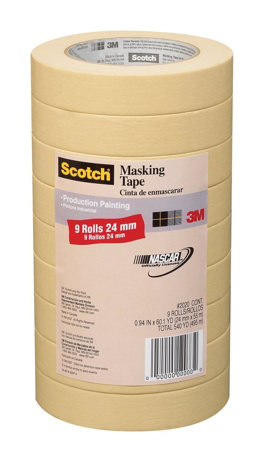 3M Scotch General Purpose Masking Tape 2020-24A-CP, 0.94-Inch by 60.1-Yards, 5 Set (9 Rolls)