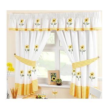 Sonnenblumen Gingham 66 X 54 Gelb Küchen Gardinen Amazonde Garten