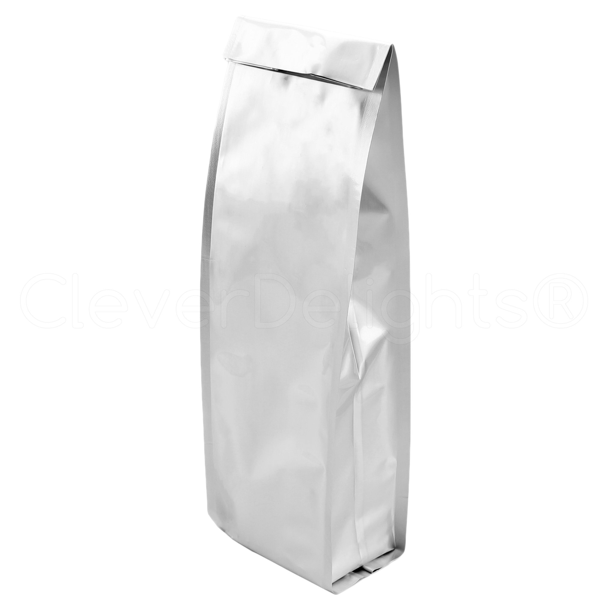 100 Pack - CleverDelights Silver Coffee Bags - 1 Pound Bag (16oz) - Heat Sealable Retail Packaging