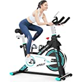 Afully Indoor Exercise Bikes Stationary Fitness Bike Upright Cycling Belt Drive with Adjustable Resistance, LCD Monitor&Phone