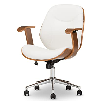 Delightful Baxton Studio Biset Modern U0026 Contemporary Office Chair, Walnut/White