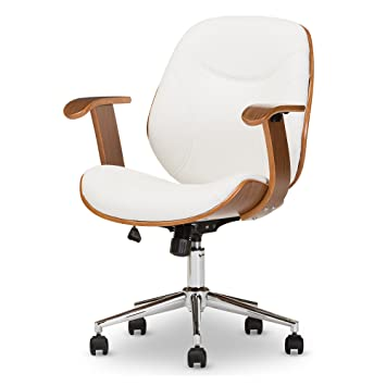 Superb Baxton Studio Biset Modern Contemporary Office Chair Walnut White Caraccident5 Cool Chair Designs And Ideas Caraccident5Info