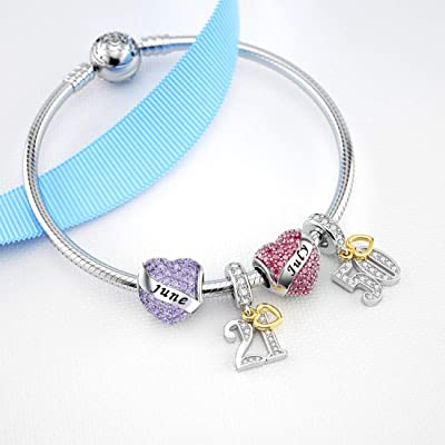 Buy Dalaran Birthstone Charms Sterling Silver Happy Birthday Heart Bead Charm For Pandora Bracelet With Gift Box Online In Indonesia B088npyjfy