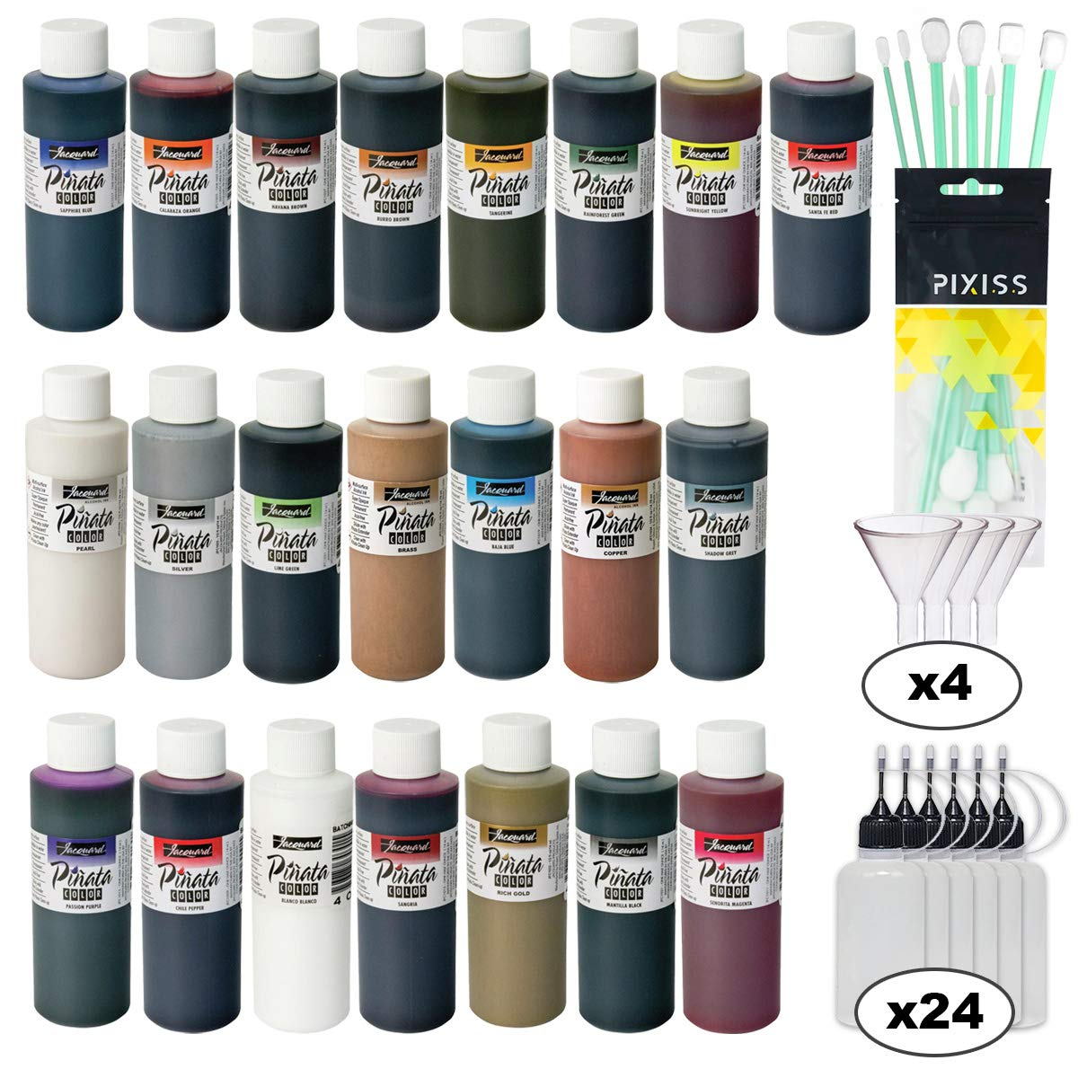 Jacquard Pinata Ultimate Alcohol Ink Kit, All 22 Alcohol Ink Colors (4-Ounce Bottles), 24x Pixiss 20ml Needle Tip Applicator and Refill Bottles, 4X 1.5 inch Funnels and 10x Pixiss Ink Blending Tools by GrandProducts