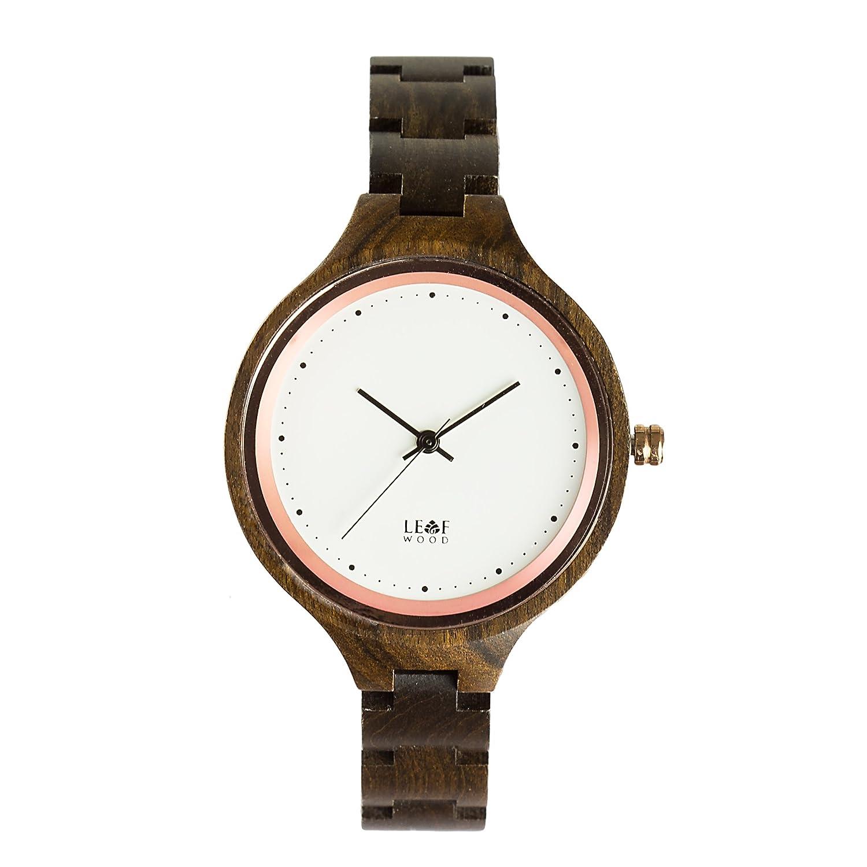 leafwood - die Virago - natur recyceltem schwarz Sandelholz Damen Holz Armbanduhr