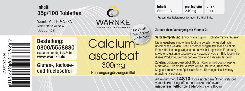 Ascorbato de calcio 300mg - Vitamina C gástrica - 100 pastillas - artículo vegetariano - productos para la salud Warnke: Amazon.es: Salud y cuidado personal