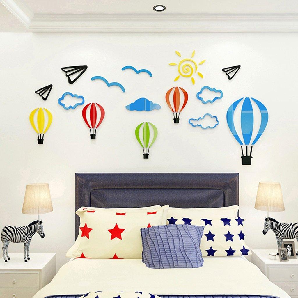 Unbekannt DWW-Wandsticker Wandaufkleber Heißluftballon 3D Stereo Kinderzimmer Aufkleber Kindergarten Kultur Wanddekoration Acryl wasserdicht Wandsticker (größe : S)