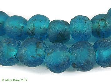 Krobo cuentas azul polvo cristal Ghana África: Amazon.es: Juguetes y juegos