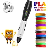 3D Pen, Zerofire 3D Printing Pen With LCD Screen Display Compatible with PLA ABS Mode Options, Set with 16 Colors 160 Feet 1.75mm Filament Refills for Kids and Adults